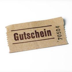 Ein alter benutzter Gutschein aus Papier